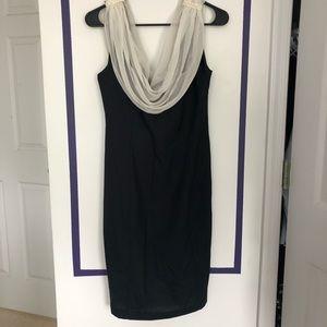 Vintage Scoop Neck Dress with Embellished Shoulder
